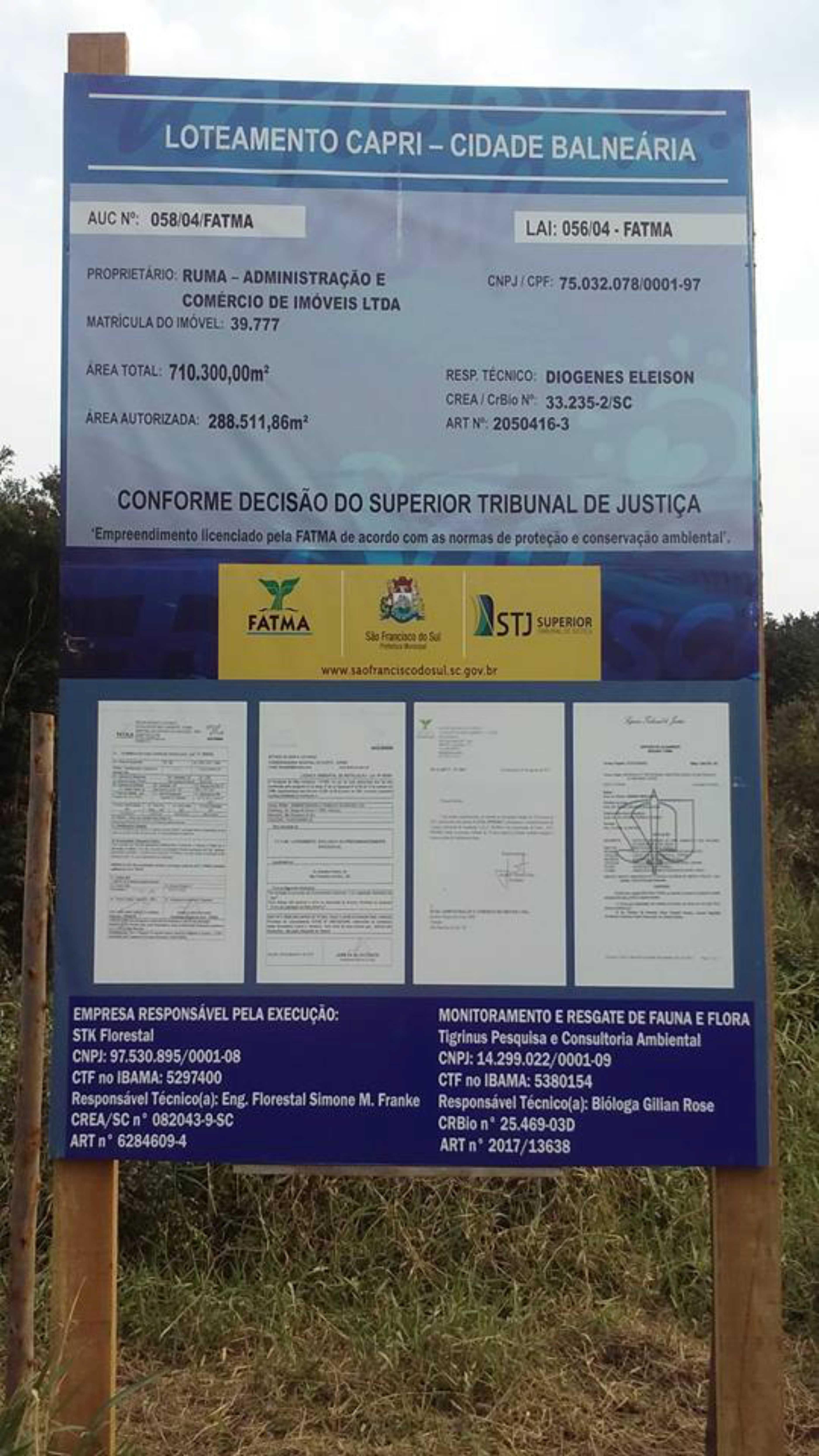 LOTEAMENTO CAPRI SÃO CHICO SC