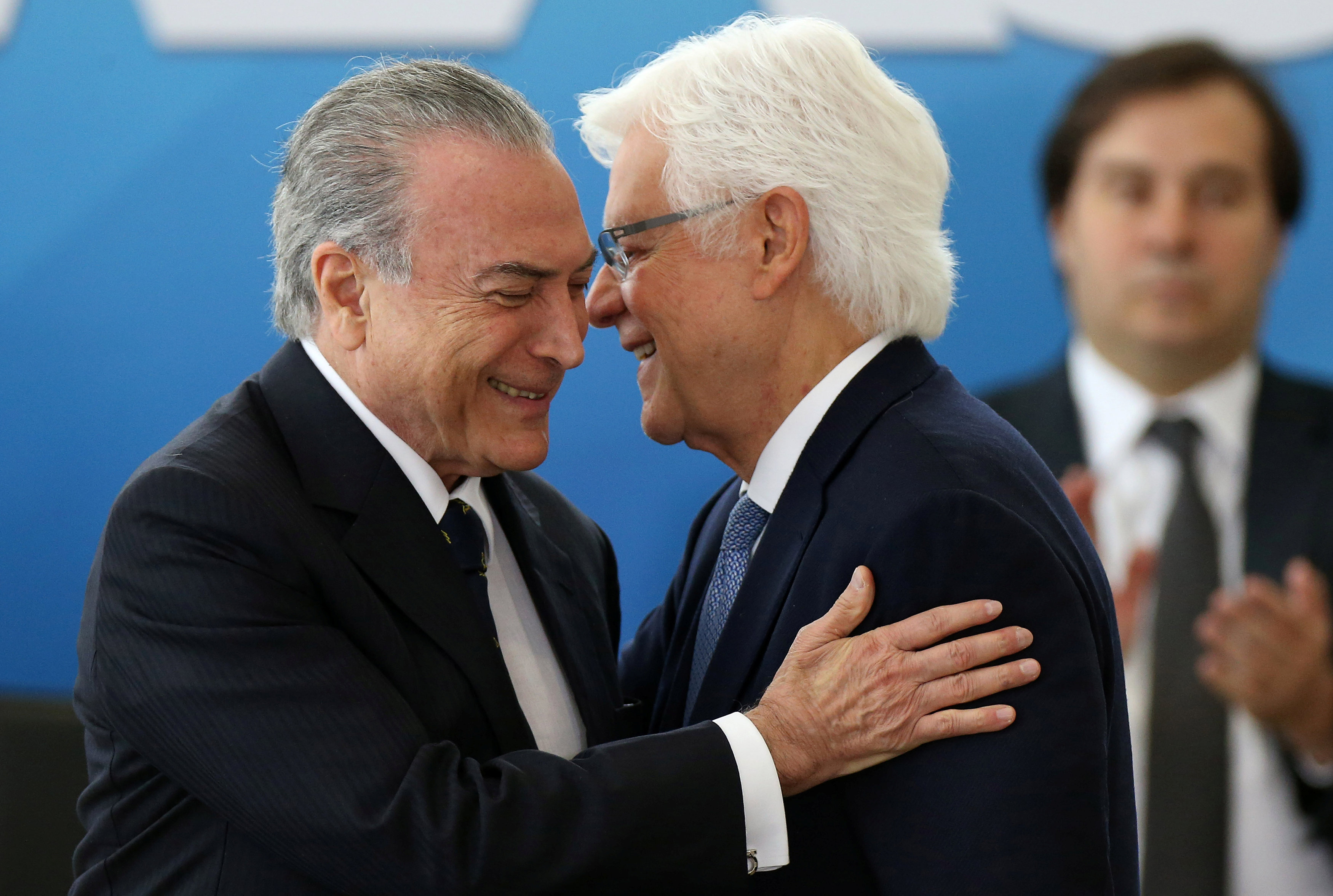 Brazil's President Michel Temer (L) greets the Minister of the General Secretary of the Presidency of Brazil, Wellington Moreira Franco during the inauguration ceremony of the Ministers, at the Planalto Palace in Brasilia, Brazil,  February 3, 2017. REUTERS/Adriano Machado     TPX IMAGES OF THE DAY